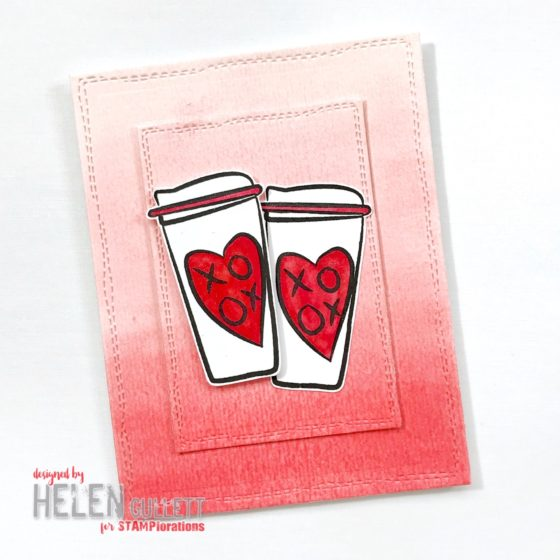STAMPlorations Paint It Red XOXO Coffee Cups Card