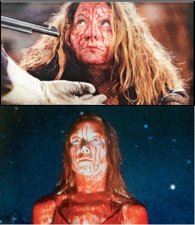 "Jennifer Jason Leigh in ""Hateful Eight"" and Sissy Spacek in ""Carrie"""
