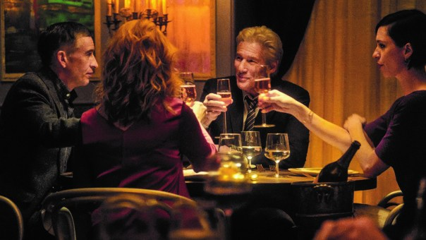 Steve Coogan as Paul Lohman, Richard Gere as Stan Lohman, Rebecca Hallas Katelyn Lohman, and Laura Linney as Claire Lohnman in THE DINNER. Photo courtesy of The Orchard.