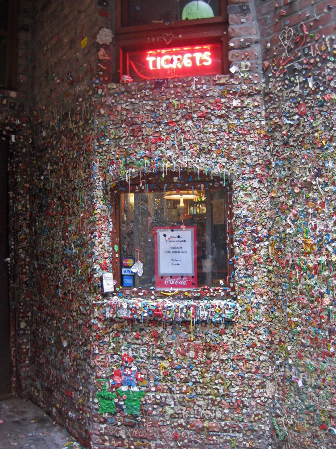 A sticky situation, buying tickets at Market Theater – now covered in chewing gum <br data-recalc-dims=