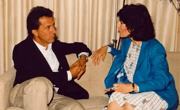 """I'm interviewing my heartthrob, Dustin Hoffman, in """"Death of a Salesman"""" – my favorite American play (CBS Headquarters, New York City)"""