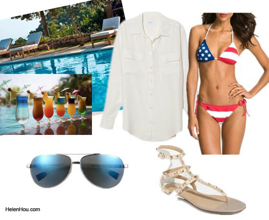Ralph Lauren swimsuit, equipment silk blouse,Valentino stud sandals,Prada sunglasses  helenhou, helen hou, the art of accessorizing, accessoriseart, lookbook, looks for less, fashion, style, outfits, fashion guru, style guru, fashion stylist, what to wear,designer cloth