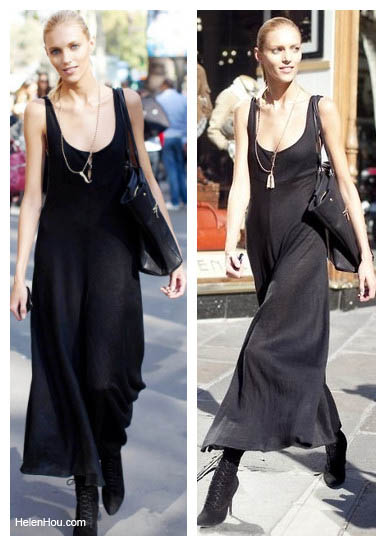 Anja Rubik, black maxi dress,model off-duty,  helenhou, helen hou, the art of accessorizing,   accessoriseart, celebrity style, street style,   lookbook,