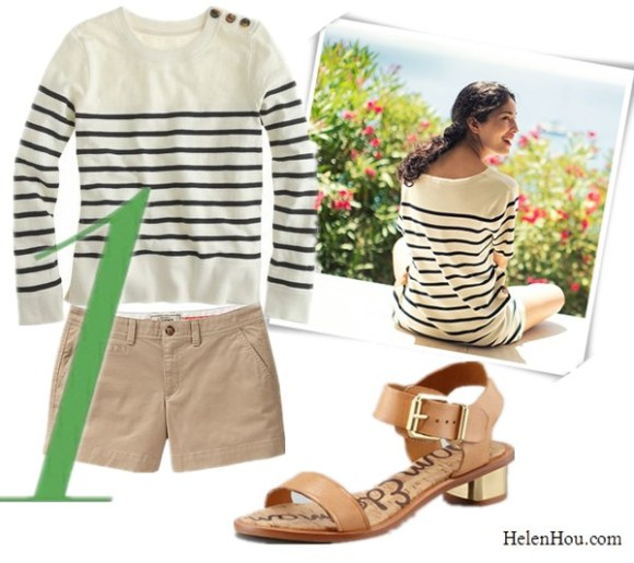 Breton stripe top,nautical stripe tee shirt,what to wear with stripe shirt, Caroline Issa,street style, Jcrew stripe sweater shirt, tortoise button sweatshirt,Old navy Perfect Khaki Shorts,Sam Edelman Trina Gold Heel Sandals, metallic heel sandals,   helenhou, helen hou, the art of accessorizing, accessoriseart, celebrity style, street style, lookbook, model off-duty,red carpet looks,red carpet looks for less, fashion, style, outfits, fashion guru, style guru, fashion stylist, what to wear, fashion expert, blogger, style blog, fashion blog,look of the day, celebrity look,celebrity outfit,designer shoes, designer cloth,designer handbag,