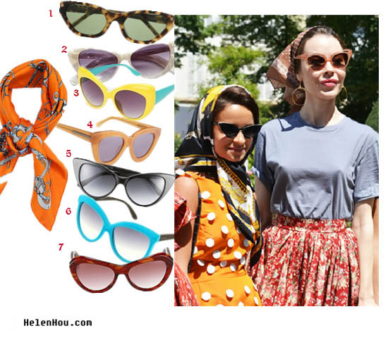 Cat eye sunglasses, street style,fall 2012 couture,paris fashion week,look for less,silk scarf, printed scarf,summer outfit,   helenhou, helen hou, the art of accessorizing, accessoriseart, celebrity style, street style, lookbook, model off-duty,