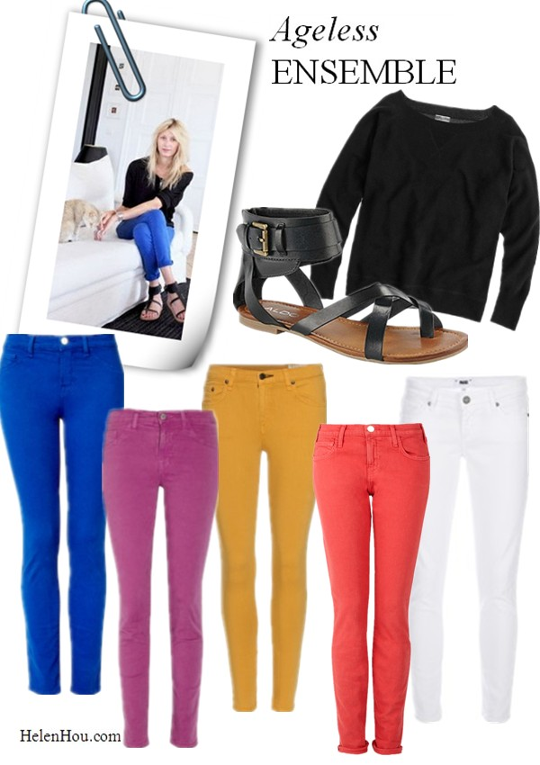 how to wear color jeans, how to wear roman ankle strap sandals,Color skinny jeans, black pull over sweater,Roman ankle-strap sandal,Paris interior designer Sarah Lavoine,J.crew cashmere sweatershirt,Aldo ankle strap sandals,J Brand blue skinny jeans, J Brand 811 cropped twill skinny jeans,J Brand purple skinny jeans,Current/Elliott jeans, red skinny jeans,CROPPED JEANS WITH ANKLE ZIP,rag&bone yellow skinny jeans,Paige Denim white skinny jeans,Skyline Skinny Jeans,helenhou, helen hou, the art of accessorizing, accessoriseart, celebrity style, street style, lookbook, model off-duty,red carpet looks,red carpet looks for less, fashion, style, outfits, fashion guru, style guru, fashion stylist, what to wear, fashion expert, blogger, style blog, fashion blog,look of the day, celebrity look,celebrity outfit,designer shoes, designer cloth,designer handbag,