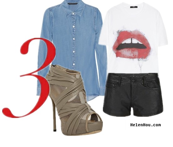 Denim shirt,chambray shirt,leather shorts,white tee shirt,graffiti tee shirt, Marc by Marc Jacobs chambray shirt,Markus Lupfer white tee shirt, L.A.M.B.shoes,ankle boots, what to wear,how to wear with, helenhou, helen hou, the art of accessorizing,   accessoriseart, celebrity style, street style,   lookbook, model off-duty,red carpet looks,red   carpet looks for less, fashion, style, outfits,   fashion guru, style guru, fashion stylist, what to   wear, fashion expert, blogger, style blog, fashion   blog,look of the day, celebrity look,celebrity   outfit,designer shoes, designer cloth,designer   handbag,