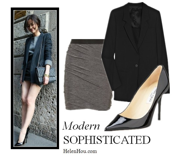 what to wear with black blaze, what to wear with navy blazer, Chinese Actress Gao Yuanyuan,Maison Martin Margiela boyfriend blazer,T by Alexander Wang twist skirt,Jimmy Choo pointy toe pump,     helenhou, helen hou, the art of accessorizing, accessoriseart, celebrity style, street style, lookbook, model off-duty,red carpet looks,red carpet looks for less, fashion, style, outfits, fashion guru, style guru, fashion stylist, what to wear, fashion expert, blogger, style blog, fashion blog,look of the day, celebrity look,celebrity outfit,designer shoes, designer cloth,designer handbag,grey sweater shirt, chanel chain bag