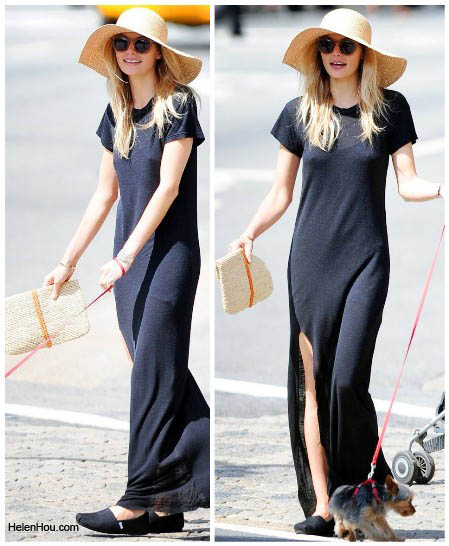 Jessica Hart, black maxi dress,model off-duty,  helenhou, helen hou, the art of accessorizing,   accessoriseart, celebrity style, street style,   lookbook,