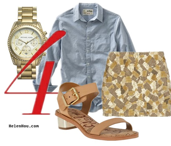 Urban Pipeline shirt,blue shirt,chambray shirt,oversized shirt,mens shirt,how to wear mens shirt,how to wear oversized shirt,Robert Rodriguez,sequin mini skirt,Sam Edelman brown leather sandals,summer sandals,metallic heel sandals,Michael Kors watch, oversized watch,gold watch,  helenhou, helen hou, the art of accessorizing, accessoriseart, celebrity style, street style, lookbook, model off-duty,red carpet looks,red carpet looks for less, fashion, style, outfits, fashion guru, style guru, fashion stylist, what to wear, fashion expert, blogger, style blog, fashion blog,look of the day, celebrity look,celebrity outfit,designer shoes, designer cloth,designer handbag,