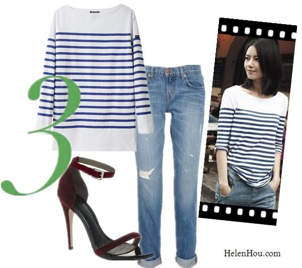 Breton stripe top,nautical stripe tee shirt,what to wear with stripe shirt, street style, SAINT JAMES NAVAL II STRIPE SHIRT, J Brand Denim boyfriend jeans,distressed boyfriend-fit jeans,asos Stiletto Leather Sandals, two strap sandals,    helenhou, helen hou, the art of accessorizing, accessoriseart, celebrity style, street style, lookbook, model off-duty,red carpet looks,red carpet looks for less, fashion, style, outfits, fashion guru, style guru, fashion stylist, what to wear, fashion expert, blogger, style blog, fashion blog,look of the day, celebrity look,celebrity outfit,designer shoes, designer cloth,designer handbag,