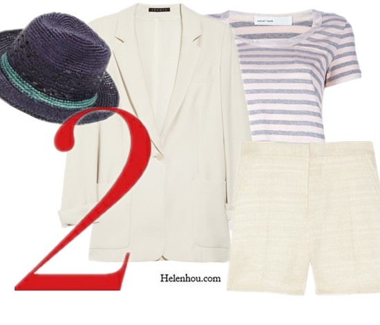 summer whites,white ensemble,Emma Roberts; Hanneli Mustaparta; Leslie Kirchhoff; Tommy Ton; Cara Delvigne;  Theory blazer, white blazer,Sacai Luck top,stripe top,Marni shorts, summer shorts, white shorts,lace shorts,JMar Y Sol hat, straw hat, summer hat, helenhou, helen hou, the art of accessorizing, accessoriseart, celebrity style, street style, lookbook, model off-duty,red carpet looks,red carpet looks for less, fashion, style, outfits, fashion guru, style guru, fashion stylist, what to wear, fashion expert, blogger, style blog, fashion blog,look of the day, celebrity look,celebrity outfit,designer shoes, designer cloth,designer handbag,