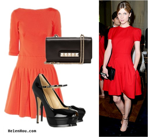 Clemence Poesy,red carpet look,look for less, ISSA red dress,Yves Saint Laurent strap shoes,Valentino stud clutch,  helenhou, helen hou, the art of accessorizing, accessoriseart, celebrity style, street style, lookbook, model off-duty,red carpet looks,red carpet looks for less, fashion, style, outfits, fashion guru, style guru, fashion stylist, what to wear,