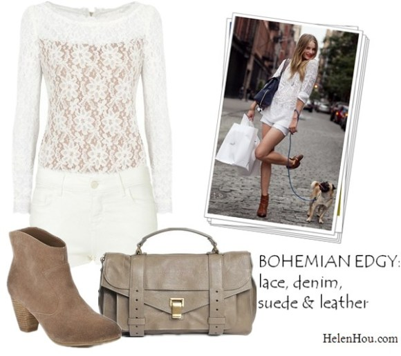 model off duty look, street style, what to wear with lace top, Ieva Laguna, ALICE BY TEMPERLEY lace top,Ecote Alexandra Suede Ankle Boot,Topshop MOTO WHITE CUT OFF HOTPANTS,Proenza Schouler PS1 Medium Shoulder Bag,helenhou, helen hou, the art of accessorizing, accessoriseart, celebrity style, street style, lookbook, model off-duty,red carpet looks,red carpet looks for less, fashion, style, outfits, fashion guru, style guru, fashion stylist, what to wear, fashion expert, blogger, style blog, fashion blog,look of the day, celebrity look,celebrity outfit,designer shoes, designer cloth,designer handbag,