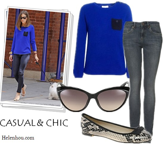 What to wear with a coblat blue sweater, Olivia Palermo, Chinti and Parker cobalt blue sweater,Tom Ford sunglasses,bow pumps,  Chinti and Parker, Topshop, Carvela, Tom Ford, helenhou, helen hou, the art of accessorizing, accessoriseart, celebrity style, street style, lookbook, model off-duty,red carpet looks,red carpet looks for less, fashion, style, outfits, fashion guru, style guru, fashion stylist, what to wear, fashion expert, blogger, style blog, fashion blog,look of the day, celebrity look,celebrity outfit,designer shoes, designer cloth,designer handbag,