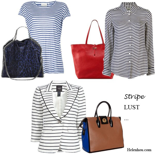 New york fashion week; street style, stripes, olivia palermo, model off duty look, striped top, striped jacket, striped button-up shirt, striped polo shirt, striped skirt, denim shorts, gold watch, blue dress, brown leather bag, white tee shirt, ankle boots, rebecca minkoff bag,  DKNY long striped T-shirt, Stella McCartney Falabella Leopard-Print Fold Over Tote, Closed stripe blouse,  Salvatore Ferragamo Gina Leather Tote,  Smythe Piped One Button Blazer in Black Oxford Stripe, Yves Saint LaurentYves Saint Laurent brown colorblock leather 'Muse Two Cabas' tote bag,   helenhou, helen hou, the art of accessorizing, accessoriseart, celebrity style, street style, lookbook, model off-duty,red carpet looks,red carpet looks for less, fashion, style, outfits, fashion guru, style guru, fashion stylist, what to wear, fashion expert, blogger, style blog, fashion blog,look of the day, celebrity look,celebrity outfit,designer shoes, designer cloth,designer handbag,