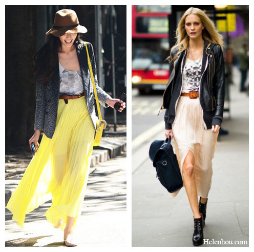 Poppy Delevigne street style,fashion week street style, Tommy Ton,maxi skirt, leather jacket, blazer, leather booties, brown belt, how to transform summer maxi skirt into fall, helenhou, helen hou, the art of accessorizing, accessoriseart, celebrity style, street style, lookbook, model off-duty,red carpet looks,red carpet looks for less, fashion, style, outfits, fashion guru, style guru, fashion stylist, what to wear, fashion expert, blogger, style blog, fashion blog,look of the day, celebrity look,celebrity outfit,designer shoes, designer cloth,designer handbag,