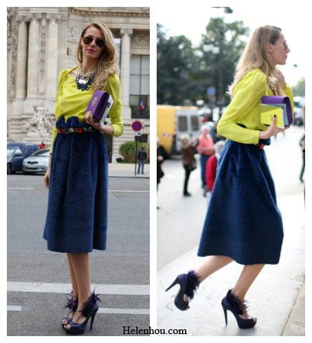Paris fashion week street style, how to wear colors in fall, how to color block, yellow blouse, velvet skirt, embellished belt, purple clutch, aviator sunglasses,  helenhou, helen hou, the art of accessorizing, accessoriseart, celebrity style, street style, lookbook, model off-duty,red carpet looks,red carpet looks for less, fashion, style, outfits, fashion guru, style guru, fashion stylist, what to wear, fashion expert, blogger, style blog, fashion blog,look of the day, celebrity look,celebrity outfit,designer shoes, designer cloth,designer handbag,
