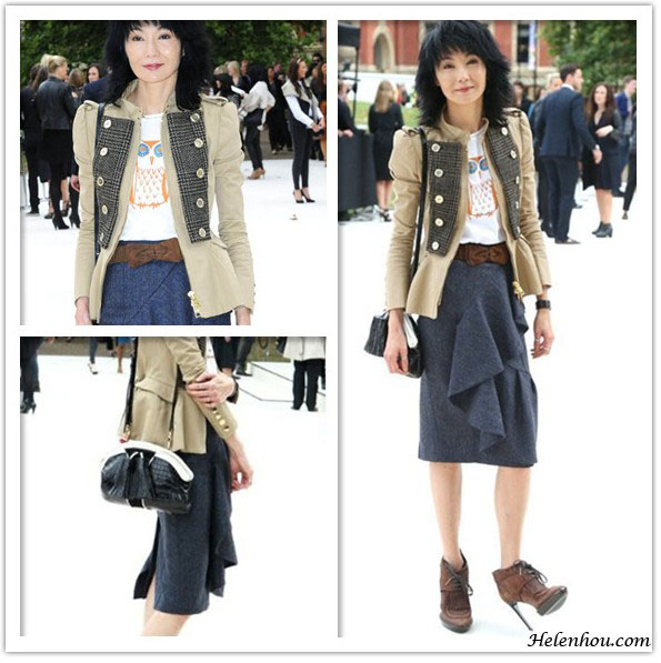 actress Maggie Cheung, paris fashion week, lavin show, Burberry Prorsum,Burberry Prorsum owl-print T-shirt,mulberry velvet bow bekt,mulberry skirt, mulberry military jacket,mulberry booties, printed t shirt, front row looks, helenhou, helen hou, the art of accessorizing, accessoriseart, celebrity style, street style, lookbook, model off-duty,red carpet looks,red carpet looks for less, fashion, style, outfits, fashion guru, style guru, fashion stylist, what to wear, fashion expert, blogger, style blog, fashion blog,look of the day, celebrity look,celebrity outfit,designer shoes, designer cloth,designer handbag,