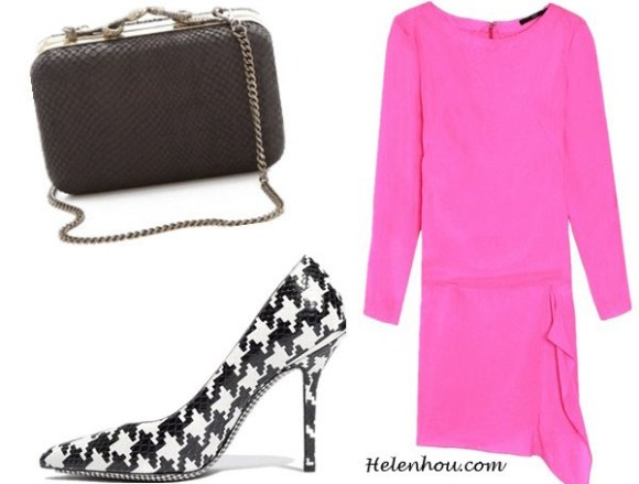 houndstooth pumps, Evan Rachel Wood, Emma Stone,Nicole Richie, black and white, high neck retro blouse, valentino pink dress,valentino clutch, stella mccartney red dress, how to wear houndstooth print, Salvatore Ferragamo Houndstooth Genuine Python Pump,  Salvatore Ferragamo Houndstooth Genuine Python Pump ,  House of Harlow 1960 Marley Clutch ,  Tibi Draped Shift Dress,  helenhou, helen hou, the art of accessorizing, accessoriseart, celebrity style, street style, lookbook, model off-duty,red carpet looks,red carpet looks for less, fashion, style, outfits, fashion guru, style guru, fashion stylist, what to wear, fashion expert, blogger, style blog, fashion blog,look of the day, celebrity look,celebrity outfit,designer shoes, designer cloth,designer handbag,