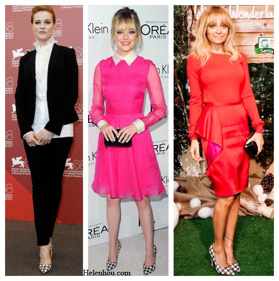 oundstooth pumps, Evan Rachel Wood, Emma Stone,Nicole Richie, black and white, high neck retro blouse, valentino pink dress,valentino clutch, stella mccartney red dress, how to wear houndstooth print, Salvatore Ferragamo Houndstooth Genuine Python Pump,   helenhou, helen hou, the art of accessorizing, accessoriseart, celebrity style, street style, lookbook, model off-duty,red carpet looks,red carpet looks for less, fashion, style, outfits, fashion guru, style guru, fashion stylist, what to wear, fashion expert, blogger, style blog, fashion blog,look of the day, celebrity look,celebrity outfit,designer shoes, designer cloth,designer handbag,