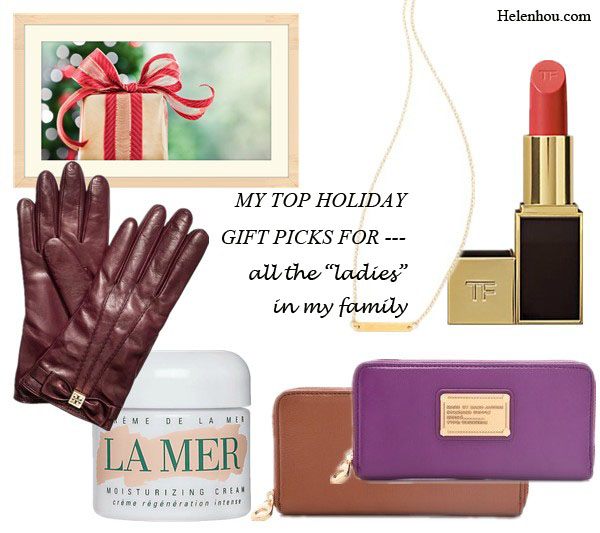 My Top Holiday Gift Picks For Every Family Member, Tory Burch@Tory BurchBow Glove ,  La Mer Crème de la Mer ,  Marc by Marc Jacobs Classic Q Slim Zip Around Wallet , GorjanaGorjana Knox Necklace , Tom Ford Beauty@Saks Fifth AvenueLimited Edition Jasmine Rouge Lip Color, helenhou, helen hou, the art of accessorizing, accessoriseart, celebrity style, street style, lookbook, model off-duty,red carpet looks,red carpet looks for less, fashion, style, outfits, fashion guru, style guru, fashion stylist, what to wear, fashion expert, blogger, style blog, fashion blog,look of the day, celebrity look,celebrity outfit,designer shoes, designer cloth,designer handbag,