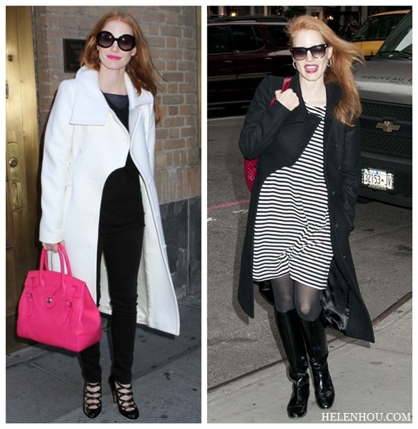 Jessica Chastain,holiday get away outfit, black and white, resort look, white coat, pink leather bag, black ensemble, striped dress, black coat, black patent leather boots,red leather bag, sunglasses, how to accessorize black and white,    helenhou, helen hou, the art of accessorizing, accessoriseart, celebrity style, street style,   lookbook, model off-duty,red carpet looks,red carpet looks for less, fashion, style, outfits,   fashion guru, style guru, fashion stylist, what to wear, fashion expert, blogger, style blog,   fashion blog,look of the day, celebrity look,celebrity outfit,designer shoes, designer   cloth,designer handbag,