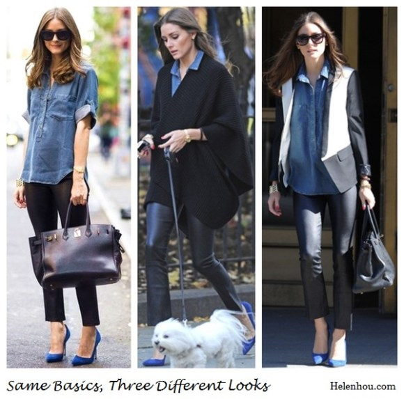 HOW TO WEAR DENIM SHIRT IN WINTER, chambray shirt, olivia palermo, hermes bag, bella dahl denim shirt, tibi two tone blazer, leather pants, Manolo Blahnik blue suede pumps, gold bracelet, what to wear with leather pants,     helenhou, helen hou, the art of accessorizing, accessoriseart, celebrity style, street style, lookbook, model off-duty,red carpet looks,red carpet looks for less, fashion, style, outfits, fashion guru, style guru, fashion stylist, what to wear, fashion expert, blogger, style blog, fashion blog,look of the day, celebrity look,celebrity outfit,designer shoes, designer cloth,designer handbag,