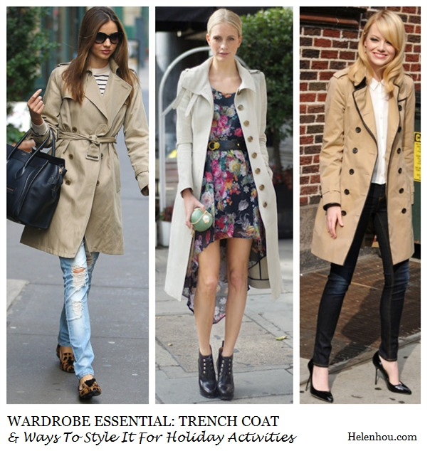 Miranda Kerr, Poppy Delevingne ,Emma Stone, holiday outfit ideas, holiday activities,classic trench coat,how to wear trench coat, striped tee shirt, distressed jeans, leopard loafer, celine luggage tote, striped t shirt, floral high-low dress, leather booties, black pumps, skinny jeans, white button down shirt, white blouse,     helenhou, helen hou, the art of accessorizing, accessoriseart, celebrity style, street style, lookbook, model off-duty,red carpet looks,red carpet looks for less, fashion, style, outfits, fashion guru, style guru, fashion stylist, what to wear, fashion expert, blogger, style blog, fashion blog,look of the day, celebrity look,celebrity outfit,designer shoes, designer cloth,designer handbag,