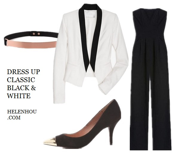 Olivia Palermo, Constance Jablonski ,Anja Rubik, black and white, white silk bouse, black leather pants, gold watch, white sweater, black pants, polka dot ankle strap shoes, black jumpsuit, white tuxedo blazer, embellished belt, how to accessories black and white, what to wear with black, holiday party outfit idea, Nicholas Roxanne Thin Rose Gold Plate Belt,  A.L.C. Devereux Jacket ,  Black Halo Severine Jumpsuit ,   Steven Fearles Cap Toe Pumps,    helenhou, helen hou, the art of accessorizing, accessoriseart, celebrity style, street style, lookbook, model off-duty,red carpet looks,red carpet looks for less, fashion, style, outfits, fashion guru, style guru, fashion stylist, what to wear, fashion expert, blogger, style blog, fashion blog,look of the day, celebrity look,celebrity outfit,designer shoes, designer cloth,designer handbag,