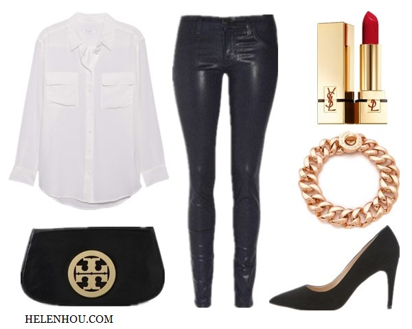 EquipmentEquipment Signature Blouse (sleeveless version here)  J Brand (featured here)   Yves Saint Laurent 'Rouge Pur Couture' Lip Color SPF 15 Marc by Marc JacobsMarc by Marc Jacobs Turnlock Small Katie Bracelet   Diane von Furstenberg Anette Suede Pumps (also here, great buy here)  Tory Burch Logo Clutch with Chain
