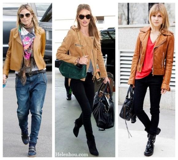 Heidi Klum, Rosie Huntington-Whiteley ,Clemence Poesy, how to wear brown leather jacket, boyfriend jeans, sneakers, printed scarf, woven belt, ankle booties, black skinny jeans, grey tee shirt, green bag, red tee shirt,     helenhou, helen hou, the art of accessorizing, accessoriseart, celebrity style, street style, lookbook, model off-duty,red carpet looks,red carpet looks for less, fashion, style, outfits, fashion guru, style guru, fashion stylist, what to wear, fashion expert, blogger, style blog, fashion blog,look of the day, celebrity look,celebrity outfit,designer shoes, designer cloth,designer handbag,