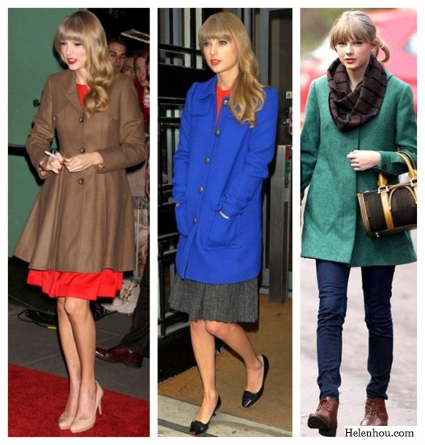 Taylor Swift, winter coat, what to wear with colored winter coat, camel coat, cobalt blue coat, green blue coat, red dress, nude pumps, color block, orange top, grey skirt, ballet flats, ankle boots,infinity scarf,     helenhou, helen hou, the art of accessorizing, accessoriseart, celebrity style, street style, lookbook, model off-duty,red carpet looks,red carpet looks for less, fashion, style, outfits, fashion guru, style guru, fashion stylist, what to wear, fashion expert, blogger, style blog, fashion blog,look of the day, celebrity look,celebrity outfit,designer shoes, designer cloth,designer handbag,