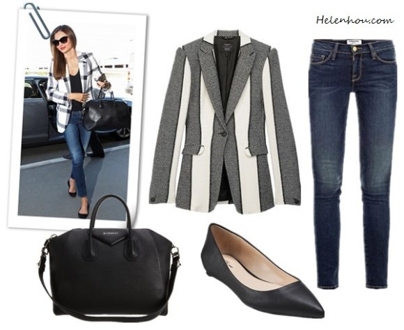 Miranda Kerr, Givenchy bag,Givenchy black pointy toe flats, Frame Denim jeans,Stella McCartney check blazer, Prada sunglasses, Rag & Bone 42nd Street Blazer ,  Frame Denim Le Skinny Jeans ,   Givenchy Antigona ,   Prabal Gurung for Target® Pointy-Toe Flat - Black, helenhou, helen hou, the art of accessorizing, accessoriseart, celebrity style, street style, lookbook, model off-duty,red carpet looks,red carpet looks for less, fashion, style, outfits, fashion guru, style guru, fashion stylist, what to wear, fashion expert, blogger, style blog, fashion blog,look of the day, celebrity look,celebrity outfit,designer shoes, designer cloth,designer handbag,