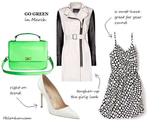 Emmy Rossum,Nicole Warne ,Olivia Palermo, how to wear green, what to wear with green,Reiss green blazer, yellow skinny jeans, colorblock bag, ANYA HINDMARCH Bathurst Bow leather tote,gray sweater, white tee, cap toe pumps, dark green leather skirt, dior leather bag, ankle strap green pumps,  Patricia Chang black and white coat, MARC JACOBS Glossed-leather Mary Jane pumps, MANGOLeather sleeves coat,  Parker Ruched Front Dress,  J.Crew Edie purse, Manolo Blahnik@Saks Fifth AvenueBB Leather Point Toe Pumps, helenhou, helen hou, the art of accessorizing, accessoriseart, celebrity style, street style, lookbook, model off-duty,red carpet looks,red carpet looks for less, fashion, style, outfits, fashion guru, style guru, fashion stylist, what to wear, fashion expert, blogger, style blog, fashion blog,look of the day, celebrity look,celebrity outfit,designer shoes, designer cloth,designer handbag,
