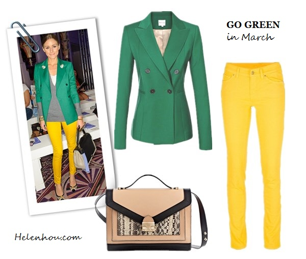 Emmy Rossum,Nicole Warne ,Olivia Palermo, how to wear green, what to wear with green,Reiss green blazer, yellow skinny jeans, colorblock bag, ANYA HINDMARCH Bathurst Bow leather tote,gray sweater, white tee, cap toe pumps, dark green leather skirt, dior leather bag, ankle strap green pumps,  Patricia Chang black and white coat, MARC JACOBS Glossed-leather Mary Jane pumps, Reiss Rosalie DOUBLE BREASTED BLAZER ,  7 FOR ALL MANKIND 'Cristen' skinny jeans ,  Loeffler Randall Rider Bag , helenhou, helen hou, the art of accessorizing, accessoriseart, celebrity style, street style, lookbook, model off-duty,red carpet looks,red carpet looks for less, fashion, style, outfits, fashion guru, style guru, fashion stylist, what to wear, fashion expert, blogger, style blog, fashion blog,look of the day, celebrity look,celebrity outfit,designer shoes, designer cloth,designer handbag,