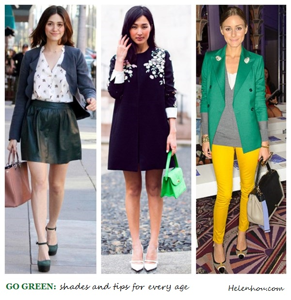 Emmy Rossum,Nicole Warne ,Olivia Palermo, how to wear green, what to wear with green,Reiss green blazer, yellow skinny jeans, colorblock bag, ANYA HINDMARCH Bathurst Bow leather tote,gray sweater, white tee, cap toe pumps, dark green leather skirt, dior leather bag, ankle strap green pumps,  Patricia Chang black and white coat, MARC JACOBS Glossed-leather Mary Jane pumps,  helenhou, helen hou, the art of accessorizing, accessoriseart, celebrity style, street style, lookbook, model off-duty,red carpet looks,red carpet looks for less, fashion, style, outfits, fashion guru, style guru, fashion stylist, what to wear, fashion expert, blogger, style blog, fashion blog,look of the day, celebrity look,celebrity outfit,designer shoes, designer cloth,designer handbag,