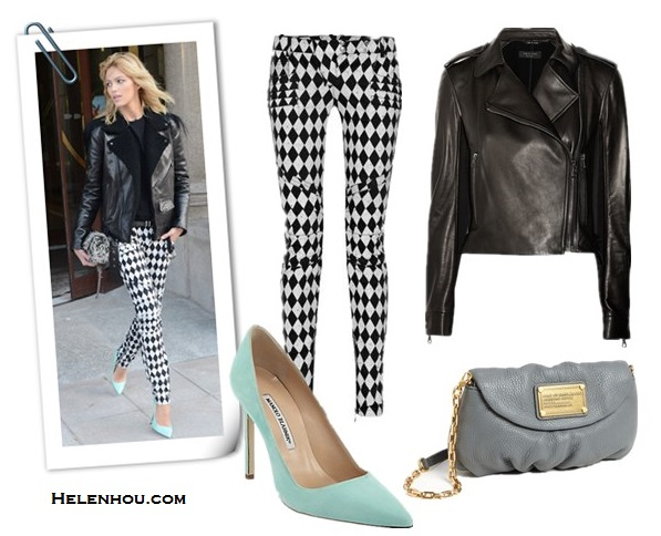 Anja Rubik, Gabriella Wilde, leather jacket, black and white,  Harlequin-print motocross-style skinny jeans, mint pumps, tweed bag, black top,  Gucci multicoloured python jacquard tunic dress,  black ankle strap  peep-toe   sandals,  how to style leather jacket, what to wear with bold print, how to wear colored shoes, how to wear ankle strap shoes, Rag & bone Langlen leather and sateen jacket,  Balmain Harlequin-print motocross-style skinny jeans ,  MARC BY MARC JACOBS 'Classic Q - Karlie' Crossbody Flap Bag,  Manolo Blahnik BB Suede Point-Toe Pumps ,   helenhou, helen hou, the art of accessorizing, accessoriseart, celebrity style,   street style, lookbook, model off-duty,red carpet looks,red carpet looks for less,   fashion, style, outfits, fashion guru, style guru, fashion stylist, what to wear,   fashion expert, blogger, style blog, fashion blog,look of the day, celebrity   look,celebrity outfit,designer shoes, designer cloth,designer handbag,