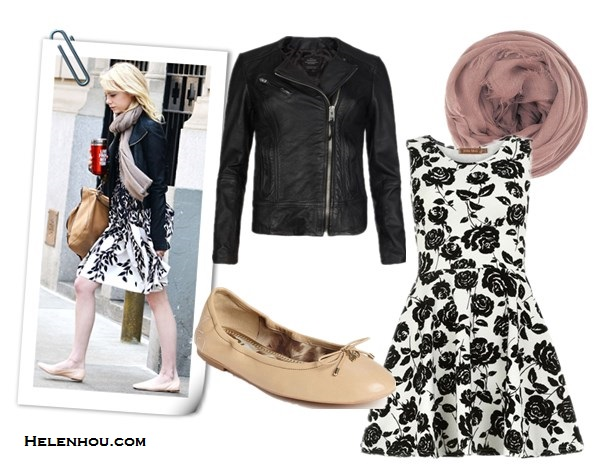 Emma Stone , Karolina Kurkova,what to wear with leather jacket, black and white printed dress, BLUMARINE sleeveless leaf print dress, nude flats, brown leather bag, stylish scarf, black satchel,black ankle booties, cat eye sunglasses, edgy and feminine, leather jacket and dress, AllSaints Lavine Leather Biker Jacket,  Dorothy PerkinsWhite floral skater dress ,  Sam Edelman 'Felicia' Flat,  Chan Luu@Net-a-PorterCashmere and silk-blend scarf,  helenhou, helen hou, the art of accessorizing, accessoriseart, celebrity style, street style, lookbook, model off-duty,red carpet looks,red carpet looks for less, fashion, style, outfits, fashion guru, style guru, fashion stylist, what to wear, fashion expert, blogger, style blog, fashion blog,look of the day, celebrity look,celebrity outfit,designer shoes, designer cloth,designer handbag,