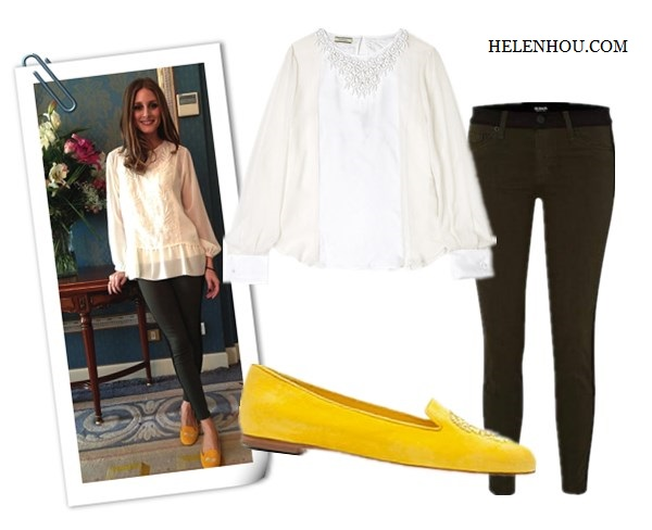Olivia Palermo,  Zara white embellished blouse, Topshop black cape knit sweater, Paige Denim Coated Edgemont Ultra Skinny Jeans,SchoShoes Milano yellow loafer,Westside Leaning sunglasses, yellow skinny jeans,how to wear colored jeans, how to wear loafer,Hudson Jeans LeeLoo Leather Color Block Super Skinny Crop, Blouse: Malene Birger Cenila Silk Embellished Blouse ,  Jeans: Hudson Jeans - LeeLoo Leather Color Block Super Skinny Crop , Shoes: Alexander Mcqueen Yellow Suede Sequined Skull Loafers ,   helenhou, helen hou, the art of accessorizing, accessoriseart, celebrity style, street style, lookbook, model off-duty,red carpet looks,red carpet looks for less, fashion, style, outfits, fashion guru, style guru, fashion stylist, what to wear, fashion expert, blogger, style blog, fashion blog,look of the day, celebrity look,celebrity outfit,designer shoes, designer cloth,designer handbag,