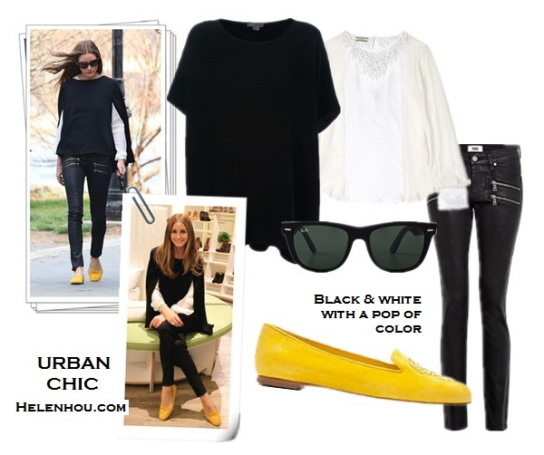 Olivia Palermo,  Zara white embellished blouse, Topshop black cape knit sweater, Paige Denim Coated Edgemont Ultra Skinny Jeans,SchoShoes Milano yellow loafer,Westside Leaning sunglasses, yellow skinny jeans,how to wear colored jeans, how to wear loafer,Hudson Jeans LeeLoo Leather Color Block Super Skinny Crop,  Vince ASYMMETRICAL black cape SWEATER , Blouse: Malene Birger Cenila Silk Embellished Blouse, Jeans: Paige Denim Edgemont Ultra Skinny Jeans, Shoes: Alexander Mcqueen Yellow Suede Sequined Skull Loafers , Ray-Ban Outsiders Oversized Wayfarer Sunglasses   helenhou, helen hou, the art of accessorizing, accessoriseart, celebrity style, street style, lookbook, model off-duty,red carpet looks,red carpet looks for less, fashion, style, outfits, fashion guru, style guru, fashion stylist, what to wear, fashion expert, blogger, style blog, fashion blog,look of the day, celebrity look,celebrity outfit,designer shoes, designer cloth,designer handbag,