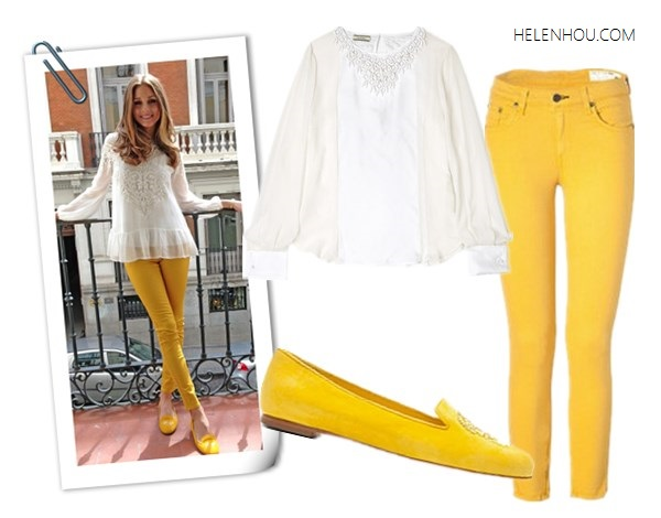 Olivia Palermo,  Zara white embellished blouse, Topshop black cape knit sweater, Paige Denim Coated Edgemont Ultra Skinny Jeans,SchoShoes Milano yellow loafer,Westside Leaning sunglasses, yellow skinny jeans,how to wear colored jeans, how to wear loafer,Hudson Jeans LeeLoo Leather Color Block Super Skinny Crop, Blouse: Malene Birger Cenila Silk Embellished Blouse ,  Jeans: Rag & Bone@Stylebop (US)Capri Jeans with Zipper ,  Shoes: Alexander Mcqueen Yellow Suede Sequined Skull Loafers ,   helenhou, helen hou, the art of accessorizing, accessoriseart, celebrity style, street style, lookbook, model off-duty,red carpet looks,red carpet looks for less, fashion, style, outfits, fashion guru, style guru, fashion stylist, what to wear, fashion expert, blogger, style blog, fashion blog,look of the day, celebrity look,celebrity outfit,designer shoes, designer cloth,designer handbag,