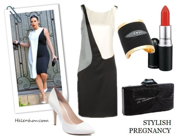 Kim Kardashian, Kate Middleton ,Miranda Kerr,Duchess of Cambridge,Pregnancy Style,maternity style, black and white, white pump, box clutch, black cuff, emerald coat, black pump, leather jacket, printed dress, black ankle booties,   EMPORIO ARMANIShort dress ,   Sondra Roberts Pleated Clutch,  BCBGeneration@HeelsCielo - White Patent,  CC SKYE Stingray Cuff,  M·A·C Lipstick,  helenhou, helen hou, the art of accessorizing, accessoriseart, celebrity style, street style, lookbook, model off-duty,red carpet looks,red carpet looks for less, fashion, style, outfits, fashion guru, style guru, fashion stylist, what to wear, fashion expert, blogger, style blog, fashion blog,look of the day, celebrity look,celebrity outfit,designer shoes, designer cloth,designer handbag,