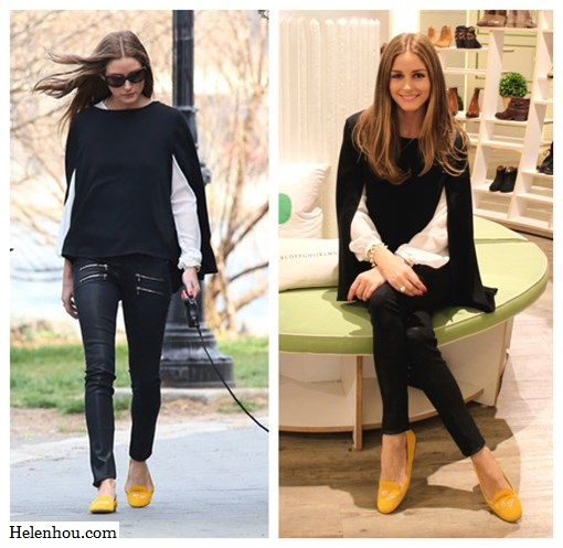 21fd725d00feb2 Olivia Palermo, Zara white embellished blouse, Topshop black cape knit  sweater, Paige Denim