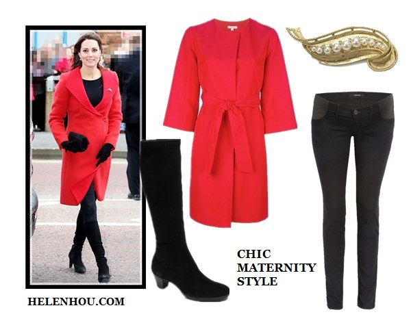 Chic Maternity Style, pregnant outfits, Kate Middleton,Violaine Bernard ,Stephanie LaCava,red Armani coat , Aquatalia knee-high suede boots,lemon Roksanda Ilincic dress,colorblock tote, ankle strap pump, layered bracelet, jeweled brooch,black beanie, black silk strap top, jbrand maternity skinny jeans, black maternity dress, floral print wrap belt,  P A R O S H belted red coat ,  J Brand Legging Maternity Jeans,  Munro 'Sophia' Stretch Boot ,  Vintage Brooch #9,  helenhou, helen hou, the art of accessorizing, accessoriseart, celebrity style, street style, lookbook, model off-duty,red carpet looks,red carpet looks for less, fashion, style, outfits, fashion guru, style guru, fashion stylist, what to wear, fashion expert, blogger, style blog, fashion blog,look of the day, celebrity look,celebrity outfit,designer shoes, designer cloth,designer handbag,