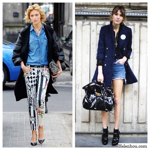 how to wear printed pants, Anja Rubik , Alexa Chung, Balmain Printed Skinny Jeans,denim shirt, black pumps, leather sleeve coat, two-tone coat, tweed bag,  distressed denim shorts, black silk shirt ,ankle booties , navy coat, mulberry bag,   helenhou, helen hou, the art of accessorizing, accessoriseart, celebrity style, street style,   lookbook, model off-duty,red carpet looks,red carpet looks for less, fashion, style, outfits,   fashion guru, style guru, fashion stylist, what to wear, fashion expert, blogger, style blog,   fashion blog,look of the day, celebrity look,celebrity outfit,designer shoes, designer   cloth,designer handbag,