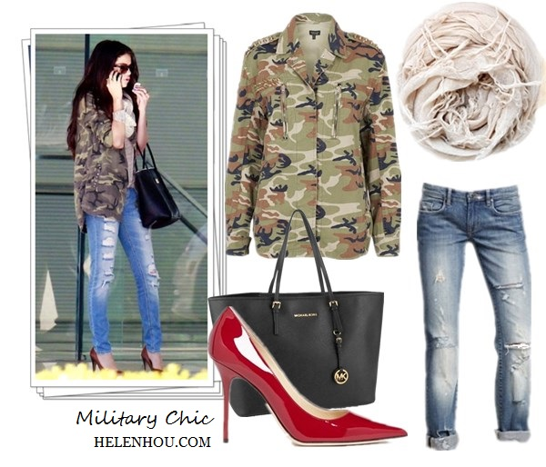 how to wear army jacket, military jacket, camo jacket, green jacket, Miranda Kerr ,Selena Gomez,Isabel Marant ankle boots, Miu Miu cat eye sunglasses, Velvet X Lily Aldridge army jacket, Josh Goot printed shirt, black mini skirt, black leather bag,Dolce & Gabbana Miss Escape Tote, Ray-ban Clubmaster Sunglasses,  Camouflage  Overshirt,red pump, beige scarf,   Topshop Gold Studded Camo Jacket ,  Blank Denim Relaxed Straight Leg Jeans,  MICHAEL Michael Kors 'Medium Travel' Tote ,  Jimmy Choo 'Abel' Patent Leather Pump ,  Chan Luu cashmere and silk scarf ,  helenhou, helen hou, the art of accessorizing, accessoriseart, celebrity style, street style, lookbook, model off-duty,red carpet looks,red carpet looks for less, fashion, style, outfits, fashion guru, style guru, fashion stylist, what to wear, fashion expert, blogger, style blog, fashion blog,look of the day, celebrity look,celebrity outfit,designer shoes, designer cloth,designer handbag,