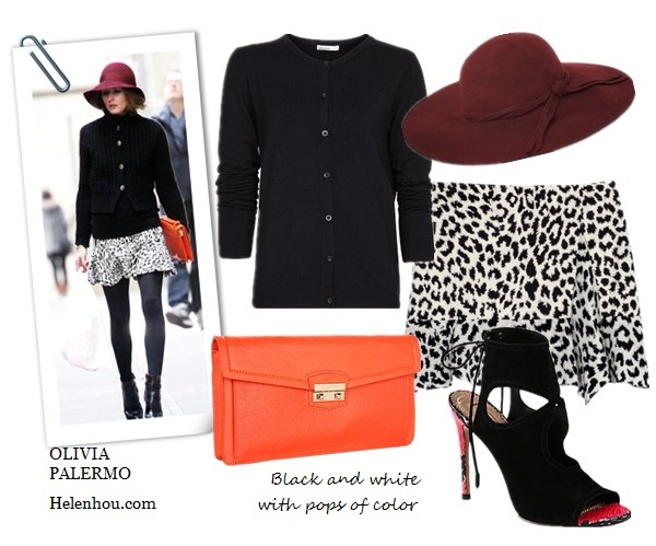 olivia palermo,street style, Aquazzura red heel booties, Zara black and white leopard skirt, Olivia & Joy orange clutch, burgundy white trim hat, black sweater, Club Monaco white turtleneck sweater, printed blouse, black jacket, how to wear leopard, J.Crew Cambridge cable turtleneck sweater,  Thakoon Addition@Moda OperandiSide Drape Ruffle Skirt ,  Cole Haan - Zoe Izzie Clutch (Woodbury),  Aquazzura Sexy Thing Suede & Snakeskin Ankle Boots , Mango Essential basic black cardigan ,   French ConnectionFancy Winter Floppy Hat ,  helenhou, helen hou, the art of accessorizing, accessoriseart, celebrity style, street   style, lookbook, model off-duty,red carpet looks,red carpet looks for less, fashion,   style, outfits, fashion guru, style guru, fashion stylist, what to wear, fashion   expert, blogger, style blog, fashion blog,look of the day, celebrity look,celebrity   outfit,designer shoes, designer cloth,designer handbag,