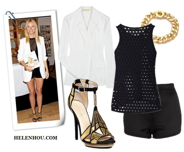 how to wear black and white, black and white for every age, Alessandra Ambrosio,Rihanna,Gwyneth Paltrow, white dress, black belt , black pump, white blazer, AA.L.C. top, cuffed white blazer ,black and gold sandals,IRO Color-block crepe jumpsuit, studded clutch, christian louboutin black pump, Rag & Bone white blazer, white shorts,diamond jewels,cap-toe sneakers, MICHAEL Michael Kors Shirred Sleeve white Jacket,  INTERMIXTwenty Eyelet black Tank,  TOPSHOP Shiny High Waist black Shorts,  Boutique 9 Platform Evening black and gold Sandals , Marc by Marc Jacobs Turnlock Small Katie gold Bracelet,  helenhou, helen hou, the art of accessorizing, accessoriseart, celebrity style, street style, lookbook, model off-duty,red carpet looks,red carpet looks for less, fashion, style, outfits, fashion guru, style guru, fashion stylist, what to wear, fashion expert, blogger, style blog, fashion blog,look of the day, celebrity look,celebrity outfit,designer shoes, designer cloth,designer handbag,