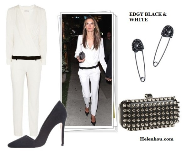 how to wear black and white, black and white for every age, Alessandra Ambrosio,Rihanna,Gwyneth Paltrow, white dress, black belt , black pump, white blazer, AA.L.C. top, cuffed white blazer ,black and gold sandals,IRO Color-block crepe jumpsuit, studded clutch, christian louboutin black pump, Rag & Bone white blazer, white shorts,diamond jewels,cap-toe sneakers, IRO Color-block black and white crepe jumpsuit ,  Natasha Couture Studded Clutch ,  Alice + Olivia Dina black  Suede Pumps,  RACHEL Rachel Roy  Hematite Tone Safety Pin Earrings,  helenhou, helen hou, the art of accessorizing, accessoriseart, celebrity style, street style, lookbook, model off-duty,red carpet looks,red carpet looks for less, fashion, style, outfits, fashion guru, style guru, fashion stylist, what to wear, fashion expert, blogger, style blog, fashion blog,look of the day, celebrity look,celebrity outfit,designer shoes, designer cloth,designer handbag,
